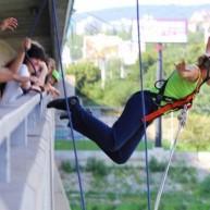 Kyvadlový mikulášsky zoskok z mosta Lafranconi + záznam skoku na videokamere umiestnenej na ruke